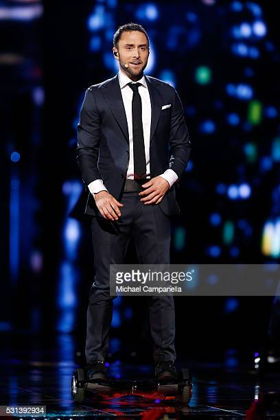 Host Mans Zelmerlow performs at the Ericsson Globe on May 14 2016 in Stockholm Sweden
