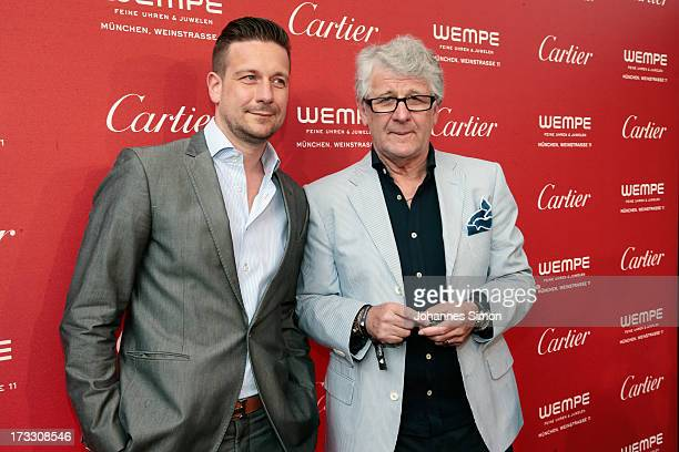 TV host Marcel Reif and his son Jan Reif arrive for the 'League of Gentlemen' launch of the Calibre de Cartier chronograph at Heart Club on July 11...