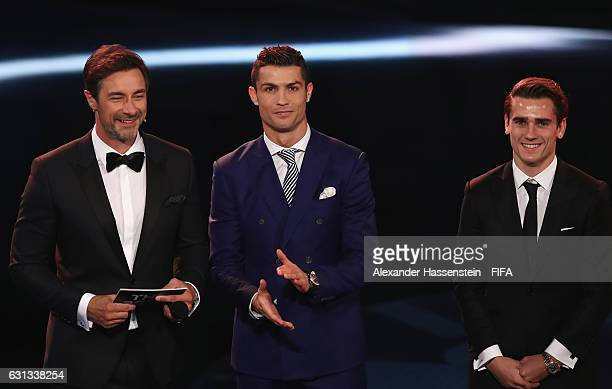 Host Marco Schreyl and The Best FIFA Men's Player nominees Cristiano Ronaldo of Portugal and Real Madrid and Antoine Griezmann of France and Atletico...