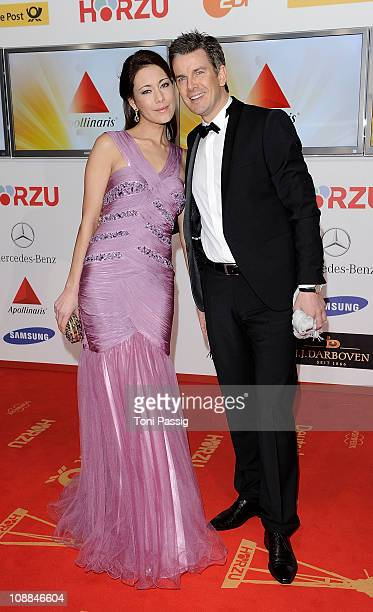 Host Marcus Lanz and girlfriend Angela Gessmann attend the 46th Golden Camera awards at the Axel Springer Haus on February 5, 2011 in Berlin, Germany.