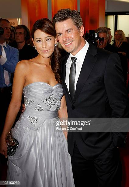 Host Marcus Lanz and girlfriend Angela Gessmann attend the German TV Award 2010 at Coloneum on October 9, 2010 in Cologne, Germany.