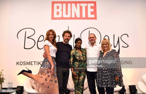 Host Mareile Hoeppner photographer Oliver Beckmann dancer Motsi Mabuse makeup artist Horst Kirchberger and host Patricia Riekel attend the Bunte...