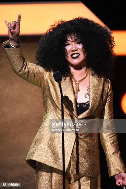 Host Margaret Cho onstage at the Premiere Ceremony during The 59th GRAMMY Awards at Microsoft Theater on February 12, 2017 in Los Angeles, California.