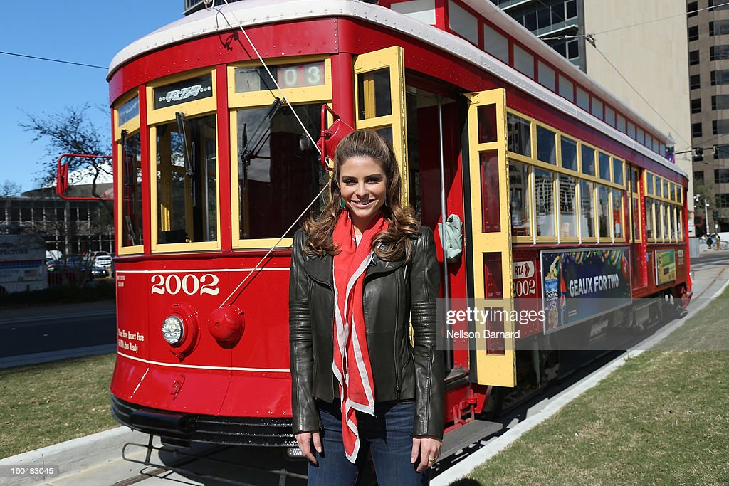 Host Maria Menounos tapes a segment for 'Extra' in Jackson Square on February 1, 2013 in New Orleans, Louisiana.