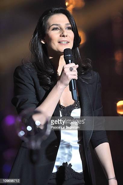 Host Marie Drucker speaks during Les Victoires de La Musique 2011 Show at Palais des Congres on March 1 2011 in Paris France