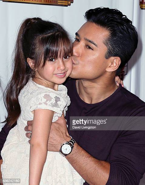 "Host Mario Lopez and daughter Gia Francesca Lopez attend the opening of ""42nd Street"" at the Pantages Theatre on May 31, 2016 in Hollywood,..."