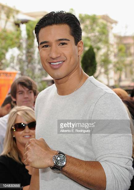 TV host Mario Lopez on the set of Extra at The Grove on October 5 2010 in Los Angeles California