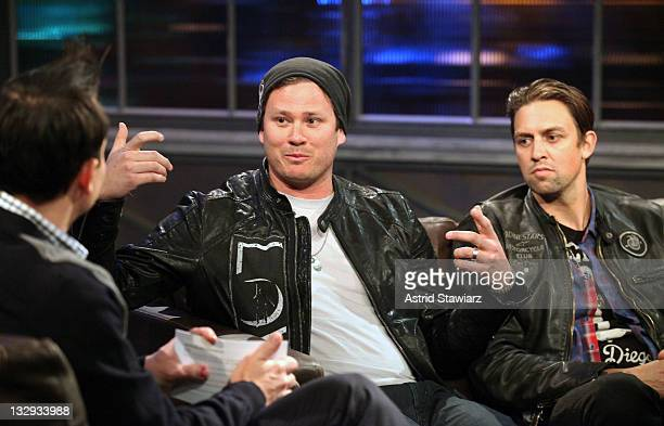Host Mark Hoppus interviews Tom DeLonge and David Kennedy of the band 'Angels And Airwaves' during a taping of Fuse's 'Hoppus on Music' at fuse...