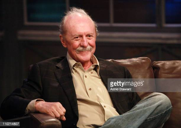 Host Mark Hoppus talks with Butch Trucks of The Allman Brothers Band during a taping of 'Hoppus on Music' at fuse Studios on March 16 2011 in New...