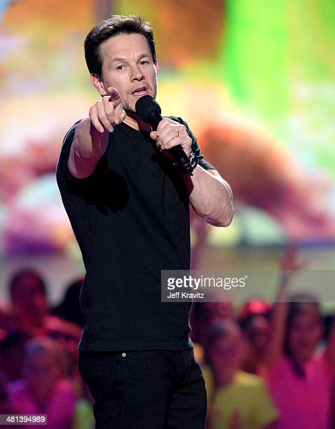 Host Mark Wahlberg onstage at Nickelodeon's 27th Annual Kids' Choice Awards at USC Galen Center on March 29 2014 in Los Angeles California