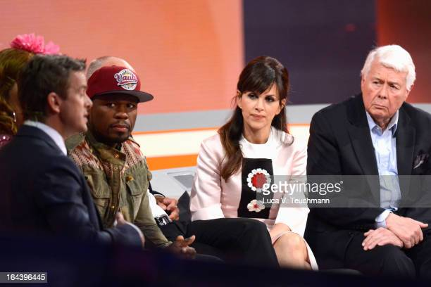 Host Markus Lanz 50 Cent Viktoria Lauterbach and Peter Weck attend the 'Wetten dass' TV Show at Stadthalle on March 23 2013 in Vienna Austria