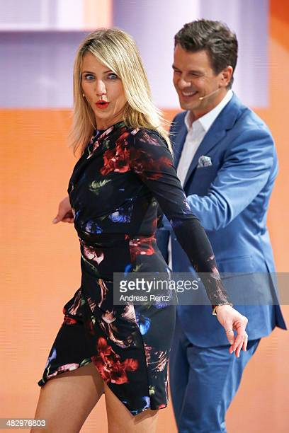 TV host Markus Lanz and Cameron Diaz talk on stage during the 'Wetten dass' tv show on April 5 2014 in Offenburg Germany