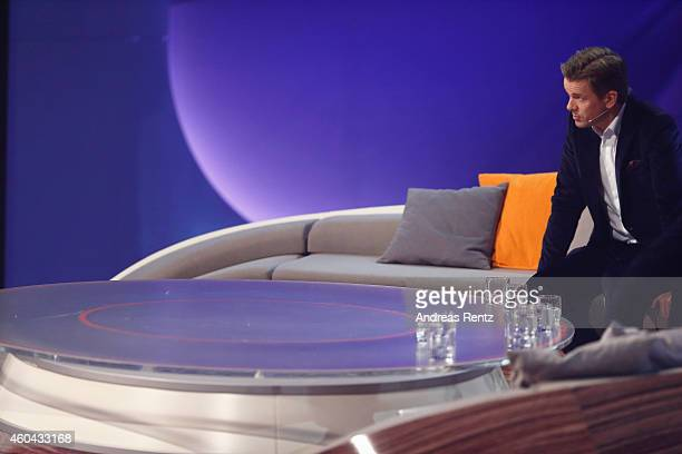 TV host Markus Lanz gestures during the last broadcast of the Wetten dass tv show on December 13 2014 in Nuremberg Germany