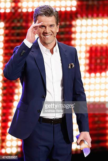 TV host Markus Lanz gestures during the 'Wetten dass' TV Show from Dusseldorf at the ISS Dome on February 22 2014 in Duesseldorf Germany