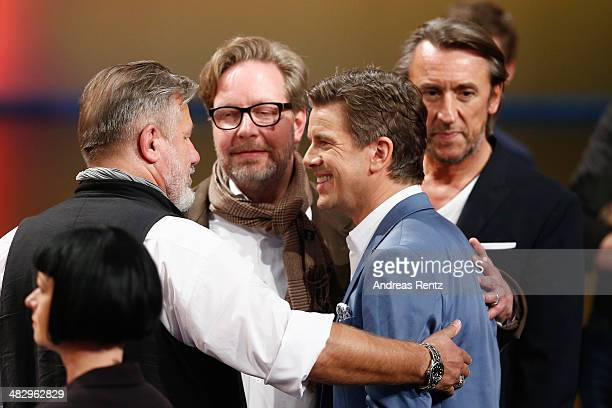 TV host Markus Lanz speaks with ZDF team members after the 'Wetten dass' tv show on April 5 2014 in Offenburg Germany