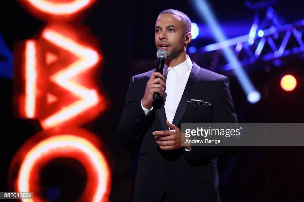 Host Marvin Humes speaks on stage at the MOBO Awards at First Direct Arena Leeds on November 29 2017 in Leeds England