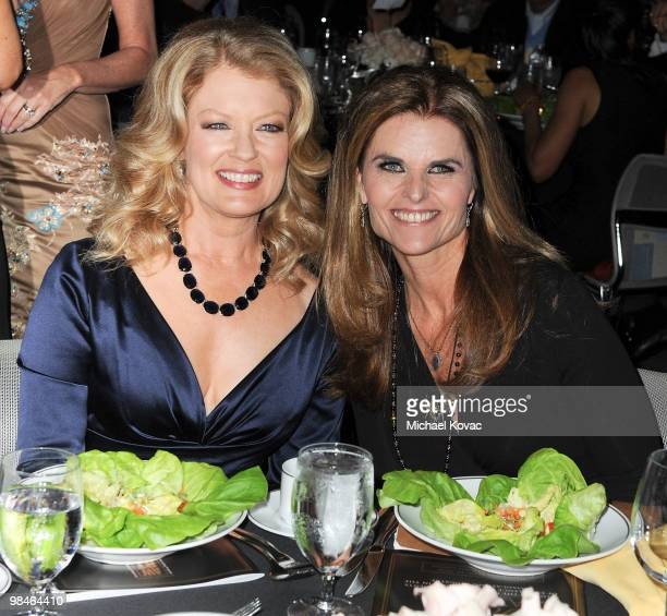 TV host Mary Hart and First Lady of California Maria Shriver attend the American Women in Radio Television Southern California 2010 Genii Awards at...