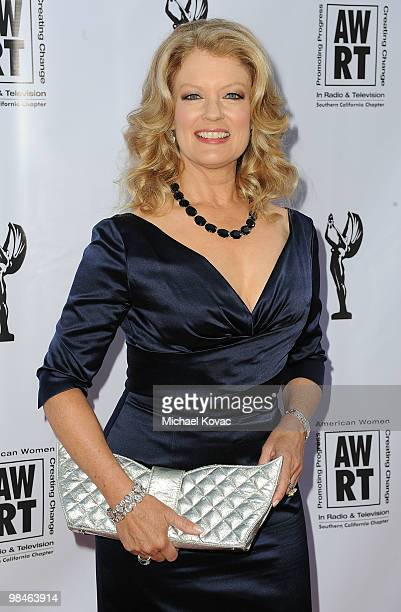 TV host Mary Hart arrives at the American Women in Radio Television Southern California 2010 Genii Awards at Skirball Cultural Center on April 14...