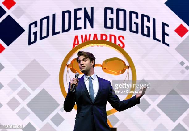 Host Mathew Broussard speaks during Golden Goggle Awards on November 24 2019 in Los Angeles California
