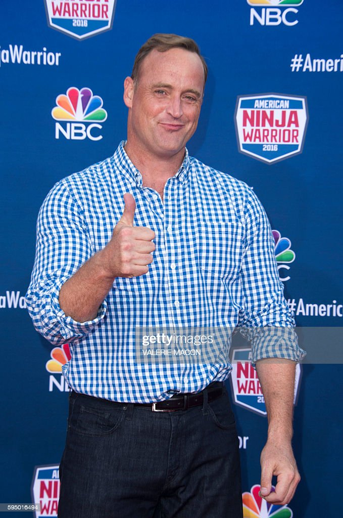 Host Matt Iseman attends 'American Ninja Warrior' screening and course demonstration In celebration of the show's first Emmy Award nomination, at Universal Studio, in Universal City, California, on August 24, 2016. / AFP / VALERIE