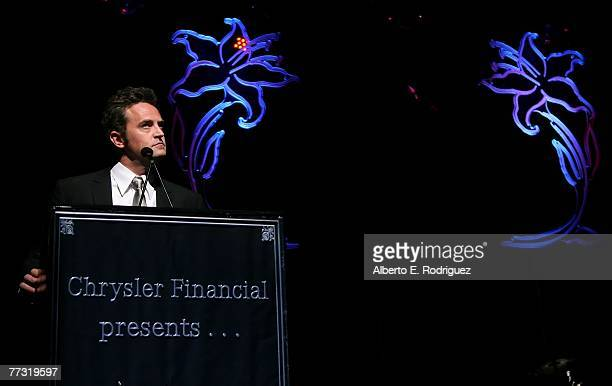 Host Matthew Perry speaks during the Lili Claire Foundation 10th annual benefit dinner and auction held at the Hyatt Regency Century Plaza on October...