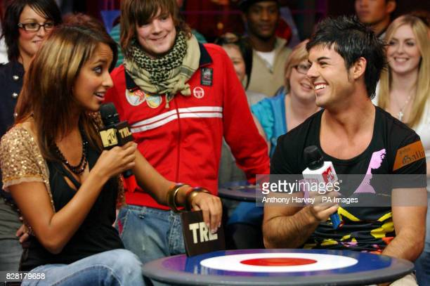 Host Max Akhtar with Anthony Hutton during his guest appearance on MTV's TRL show live from the MTV studios Leicester Square central London Tuesday...