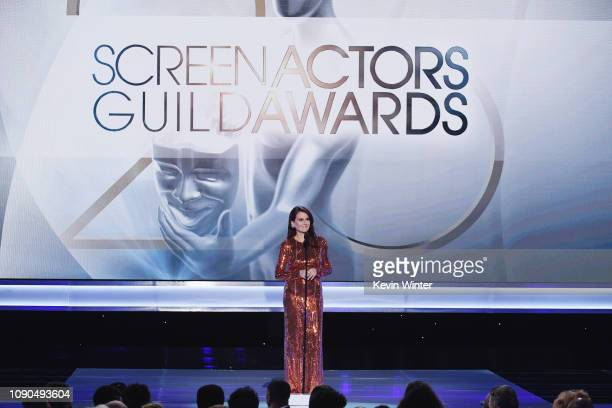 Host Megan Mullally speaks onstage during the 25th Annual Screen ActorsGuild Awards at The Shrine Auditorium on January 27 2019 in Los Angeles...
