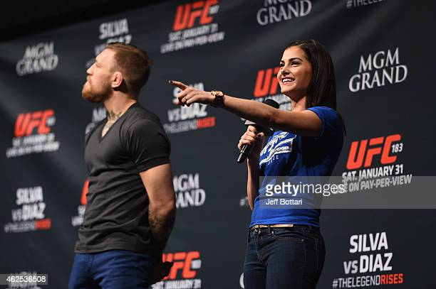 UFC host Megan Olivi and Conor McGregor interact with fans during the QA before the UFC 183 weighin at the MGM Grand Garden Arena on January 30 2015...