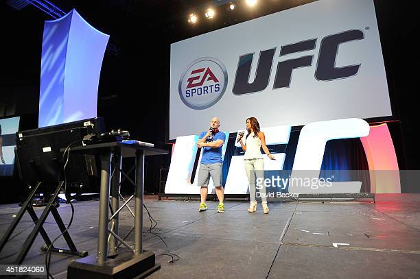 UFC host Megan Olivi hosts the EA Sports UFC presentation during the UFC Fan Expo at the Mandalay Bay Convention Center on July 5 2014 in Las Vegas...