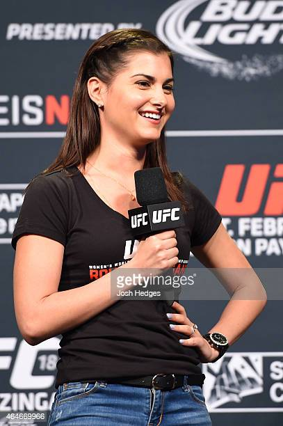 UFC host Megan Olivi interacts with fans during a QA session before before the UFC 184 weighin at the Event Deck and LA Live on February 27 2015 in...