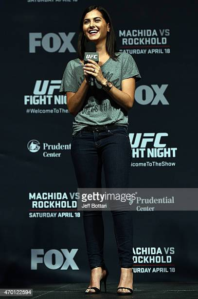 UFC host Megan Olivi interacts with fans during a QA session before the UFC Fight Night weighin event at the Prudential Center on April 17 2015 in...