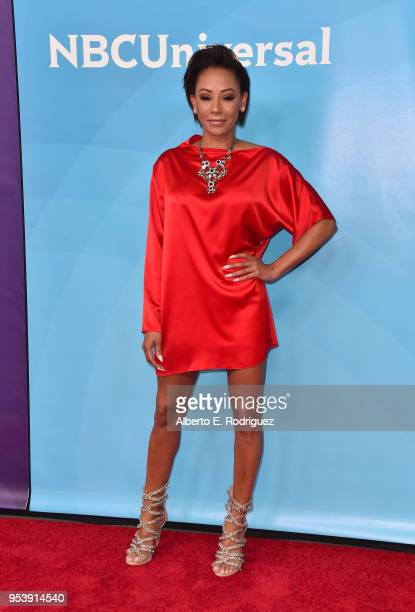 Host Mel B attends NBCUniversal's Summer Press Day 2018 at The Universal Studios Backlot on May 2, 2018 in Universal City, California.