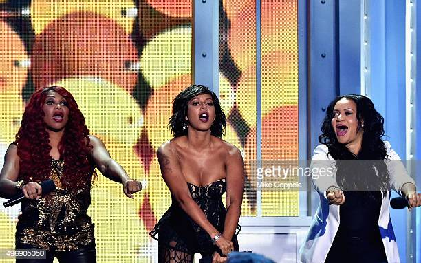 Host Mel B performs onstage with Sandra Denton and Cheryl James of SaltNPepa at the VH1 Big Music in 2015 You Oughta Know Concert at The Armory...