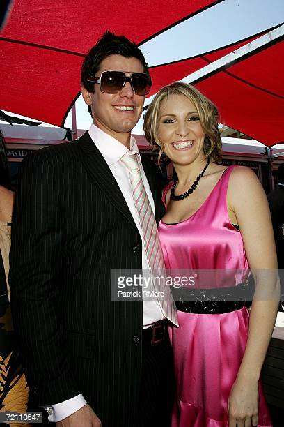 TV host Mel Symons and her boyfriend attend the Super Saturday Epsom Day day two of Spring Carnival at Royal Randwick Racecourse on October 7 2006 in...