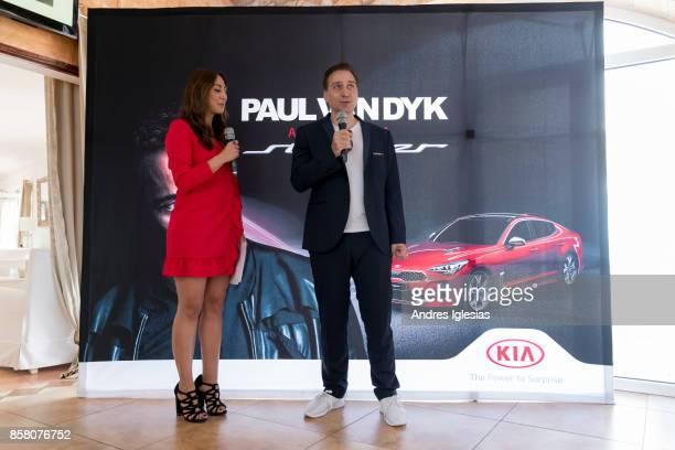 Host Melissa Khalaj and DJ Paul Van Dyk attend as Paul Van Dyk X Kia present the Kia Stinger on October 5 2017 in Mallorca Spain