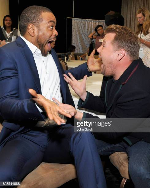 Host Method Man and executive producer James Corden of 'Drop the Mic' at the TCA Turner Summer Press Tour 2017 Green Room at The Beverly Hilton Hotel...