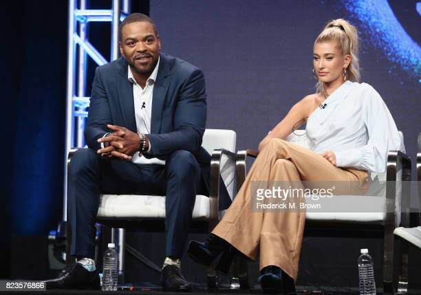 Host Method Man and host Hailey Baldwin of 'TBS Drop the Mic' speaks onstage during the Turner Networks portion of the 2017 Summer Television Critics...