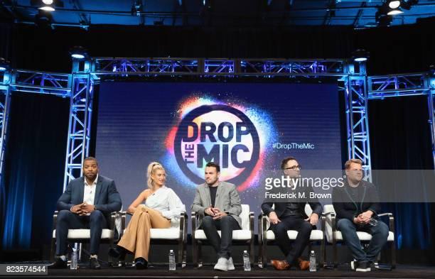 Host Method Man host Hailey Baldwin executive producer Ben Winston executive producer Jensen Karp and executive producer James Corden of 'TBS Drop...