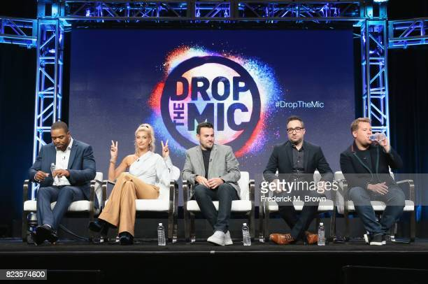Host Method Man host Hailey Baldwin executive producer Ben Winston executive producer Jensen Karp and executive producer James Corden of 'TBS Drop...