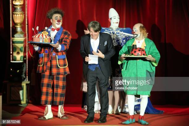 Host Michael Kaefer during Michael Kaefer's 60th birthday celebration at Postpalast on February 2 2018 in Munich Germany