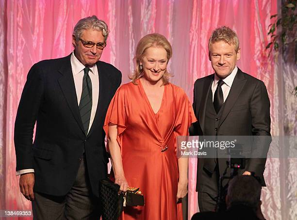 Host Michael Nouri actors Meryl Streep and Kenneth Branagh speak onstage at AARP Magazine's 11th Annual Movies for Grownups Awards Gala at the...