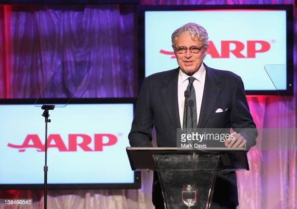 Host Michael Nouri speaks onstage at AARP Magazine's 11th Annual Movies for Grownups Awards Gala at the Beverly Wilshire Four Seasons Hotel on...