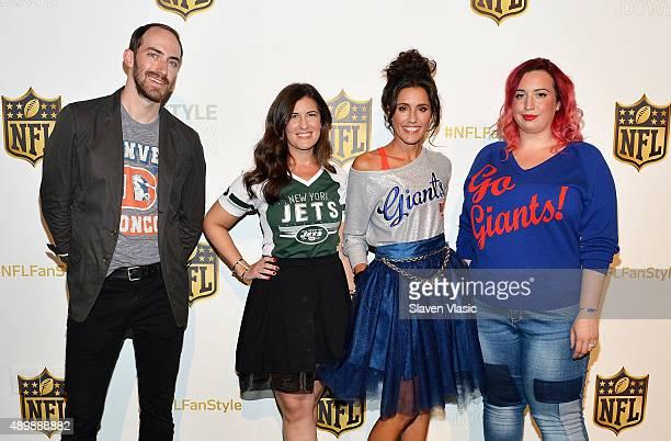 Host Michael Stauffer bloggers Heather Zeller Christine Bibbo Herr and Liz Black attend the NFL Women's Style Showdown on September 24 2015 in New...