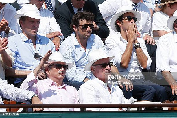 TV Host Michel Drucker Pascal Desprez Patrick Bruel and CEO of Fnac Alexandre Bompard attend the 2015 Roland Garros French Tennis Open Day Thirteen...