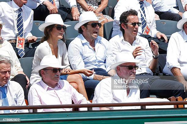 TV Host Michel Drucker Pascal Desprez Patrick Bruel with Caroline Nielsen and CEO of Fnac Alexandre Bompard attend the 2015 Roland Garros French...