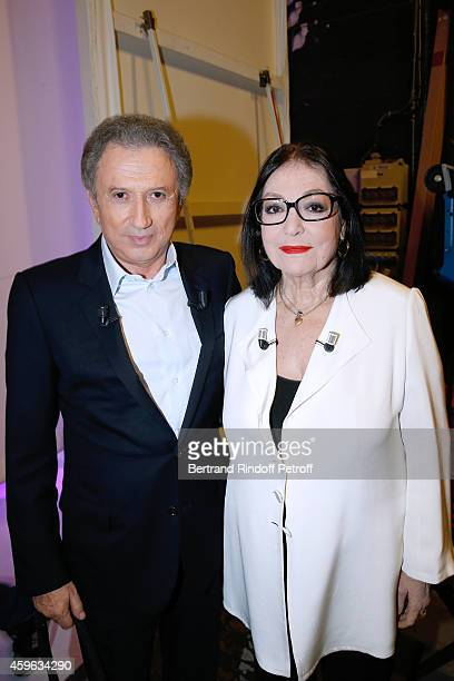 """Host Michel Drucker presents the show and Main guest of the show, singer Nana Mouskouri presents her """"Happy birthday tour"""" during the 'Vivement..."""