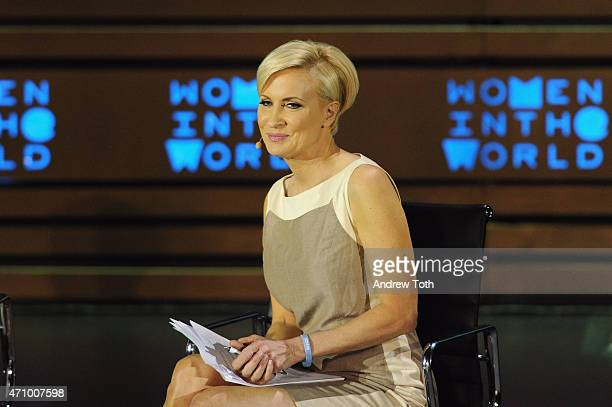 Host Mika Brzezinski speaks on stage during the Women In The World Summit held in New York on April 24 2015 in New York City