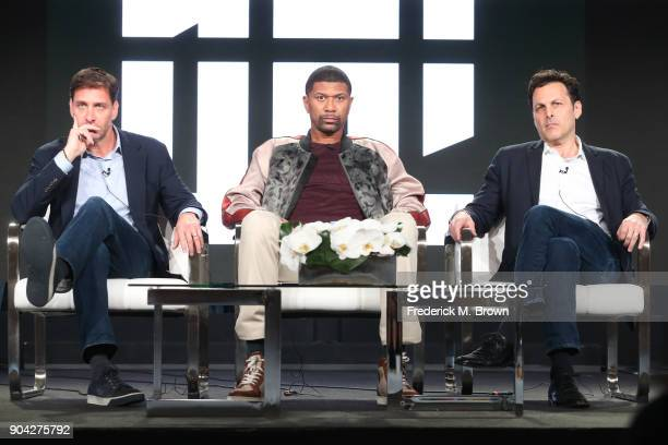 Host Mike Greenberg talent Jalen Rose and VP of studio production Bill Wolff of 'Get Up' speak onstage during the ESPN portion of the 2018 Winter...
