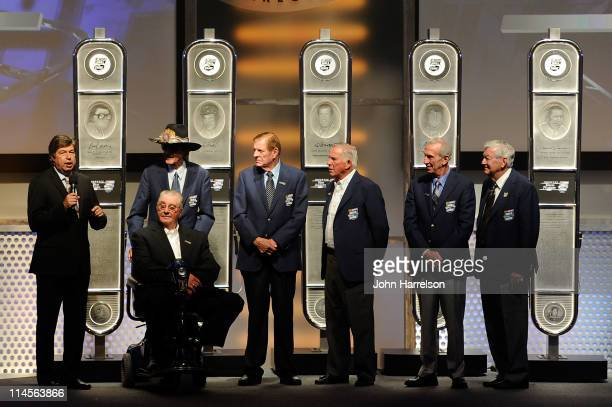 Host Mike Joy introduces the Class of 2011 Inductee Maurice Petty Richard Petty Bud Moore David Pearson Ned Jarrett and Bobby Allison during the the...