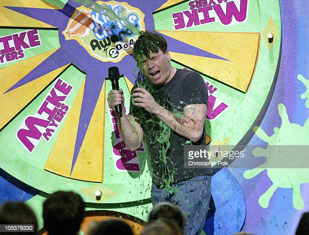 Host Mike Myers getting slimed during Nickelodeon's 17th Annual Kids' Choice Awards Show at Pauley Pavillion in Westwood California United States